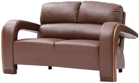 """Glory Furniture 58"""" Loveseat with Wood Trim on Arms, Removable Arms, Split Back Cushions and Faux Leather Upholstery in"""