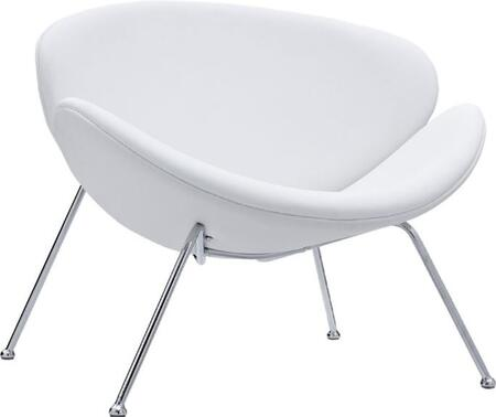 Fine Mod Imports FMI10090WHITE Leather Lounge with Metal Frame in White