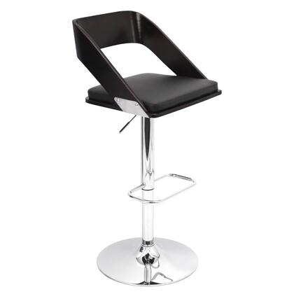 "LumiSource Vuno BS-JY-VN 36"" - 41"" Barstool with 360 Degree Swivel, Adjustable Height and PU Leather Upholstery in"