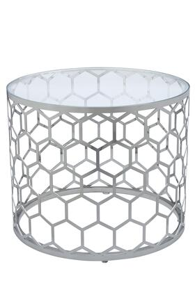 Allan Copley Designs 2120302X Melissa Round Cocktail Table With Glass Top and Stainless Steel Base