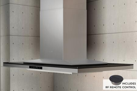 Black Glass Range Hood with Remote Control
