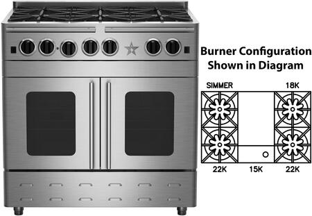 "BlueStar RNB364GPMV2X 36"" Precious Metals Series Gas Range with 4 Burners, 12"" Griddle, Continuous Cast Iron Grates and Unique French Door Extra Large Convection Oven (Select Color Option)"