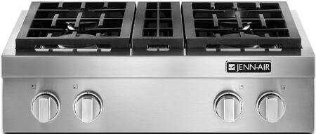 Jenn-Air JGCP43WP Pro-Style Gas Rangetop with Sealed Burners, Cast Iron Continuous Grates, and Flame-Sensing Re-ignition, in Stainless Steel
