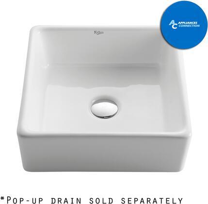 Kraus CKCV1201400CH White Ceramic Series Sink and Faucet Bundle with Square Ceramic Vessel Sink, Chrome Finish