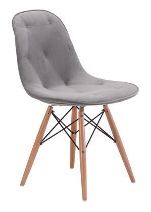 Zuo 1041XX Probability Dining Chair with Tufted Detailing, and Crossing at the Legs