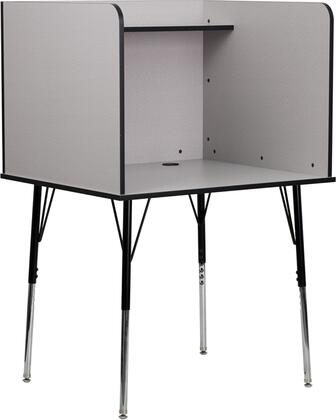 Flash Furniture MT-M6221-XX-GG Study Carrel with Adjustable Legs, Top Shelf and Black Grommet for Wire Management