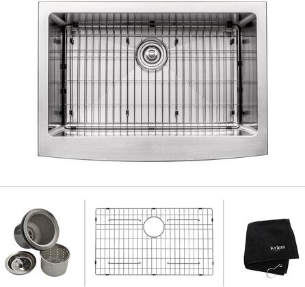 Kraus KHF200 Precision Series Apron Front Single-Bowl Kitchen Sink with Stainless Steel Construction, NoiseDefend, and Commercial-Grade Satin Finish