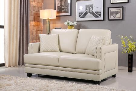 "Meridian Ferrara 655-L 62"" Loveseat with Top Quality Bonded Leather Upholstery, Silver Nail Heads Design and Quilted Pillows in"