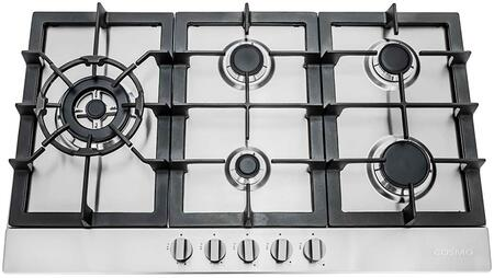 Cosmo SLTXE Gas Cooktop with 5 Sealed Burners, Cast Iron Grates, Electronic Ignition, Flame Failure Safety Device and Easy-to-Clean Construction in Stainless Steel