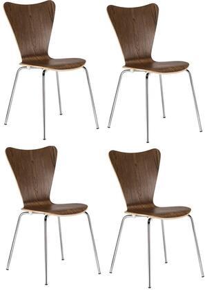 EdgeMod EM183WALX4 Elgin Series Modern Metal Frame Dining Room Chair
