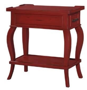 Bramble 25155 Provence Series Transitional Wood Rectangular 1 Drawers End Table