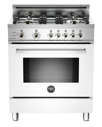 """Bertazzoni Professional PRO304DFSTLP 30"""" Liquid Propane Dual-Fuel Self-Clean Range With 4 Brass Burners, 18,000 BTUs Power Burner, 3.4 cu.ft. Electric Convection Oven, 9 Cooking Functions & In"""