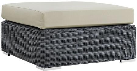 "Modway Summon EEI1875GRY 36"" Outdoor Patio Sunbrella Square Ottoman with Stainless Steel Legs, Two-Tone Synthetic Rattan Weave, All-Weather Cushion, UV and Water Resistant in Canvas Color"