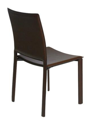 Euro Style 02379BRN Modern Leather Metal Frame Dining Room Chair