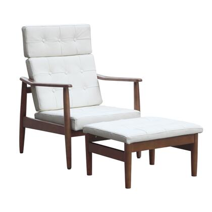 Fine Mod Imports FMI6200WHITE Vod Series Contemporary Leather Chaise Lounge