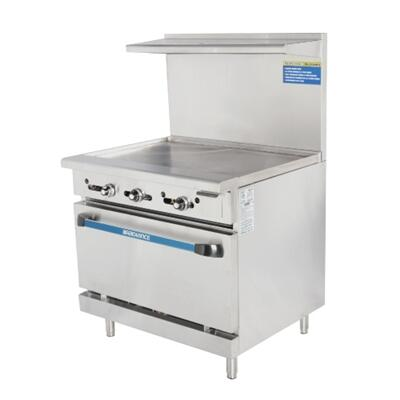 """Turbo Air TAR36 36"""" Range with Heavy Gauge Welded Frame, 36"""" Thermostat Griddle, Stainless Steel Construction, 1 Standard Oven, Full Size Crumb Tray and Adjustable Oven Thermostat:"""