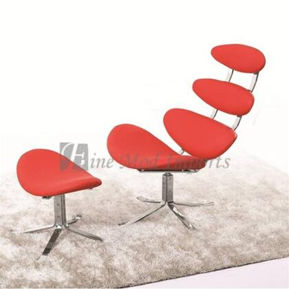 Fine Mod Imports FMI1146RED Crono Series Lounge Italian Leather Stainless Steel Frame Accent Chair