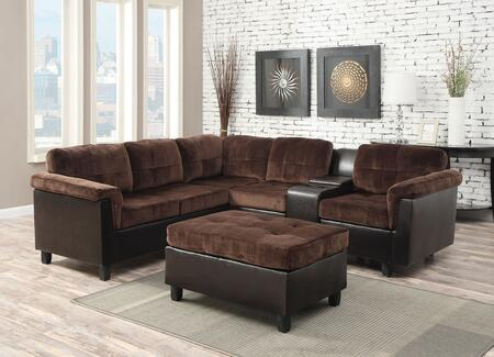 Acme Furniture 5166 Cleavon Reversible Sectional with Sofa, Wedge, Armless Chair, Console, Chair and Espresso PU Leather Upholstery in Chocolate