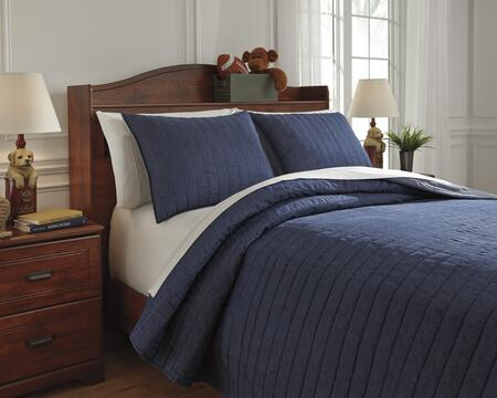 Signature Design by Ashley Capella Q77100 PC Size Quilt Set includes 1 Quilt and Standard Sham, Machine Washable with Cotton and Polyester Blend Material in Denim Color