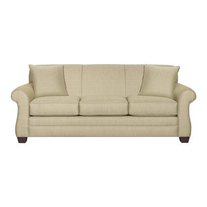 """Bassett Furniture Maverick Collection 3990-6QFC/FC123-x 87"""" Queen Sofa Sleeper with Fabric Upholstery, Tight Back Cushion, Bombe Arms, Tapered Block Feet and Contemporary Style in"""