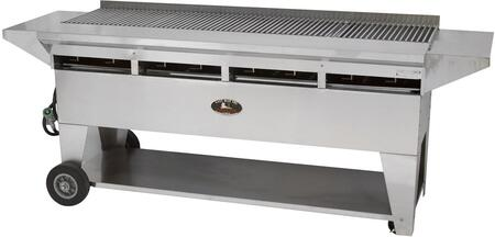 """Lazy Man A4CC-SSE Model A Elite Series 89"""" Professional Stainless Steel Country Club Catering Grill with 160,000 BTU, 8 Burners and Stainless Steel Shelves"""