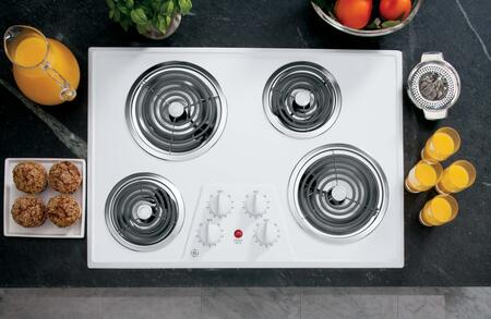 """GE JP328 30"""" Electric Cooktop with 4 Coil Heating Elements, Removable Drip Bowls, Upfront Controls and Lift Up Cooktop with Support Rod:"""