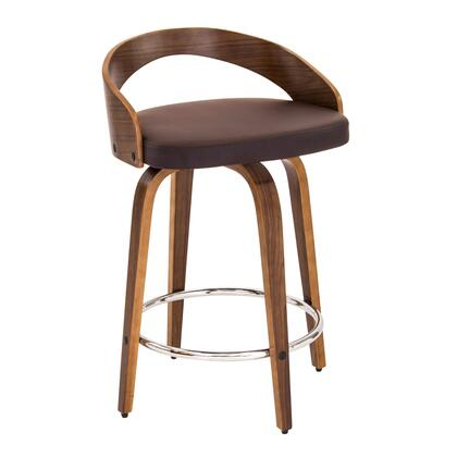 "LumiSource Grotto CS-JY-GRT 30"" Counter Stool with 360-Degree Swivel, Curved Low Back and Tapered Legs in"
