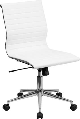 Flash Furniture BT9836M2GG Mid-Back Armless Ribbed Upholstered Leather Conference Chair
