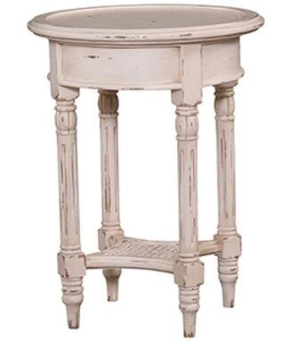 Bramble 23677 Provence Series Transitional Wood Round None Drawers End Table