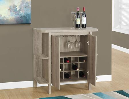 """Monarch I 232X 36"""" 2 Door Home Bar with Glass Holders, Bottle Storage and 2 Open Shelves"""