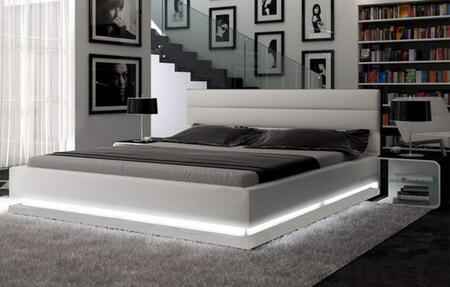 """Ladeso Brooklyn Collection SF-848-X-LG 86"""" Bed with LED Lights, Low Profile, Panel Headboard and Leatherette Upholstery in Light Grey"""