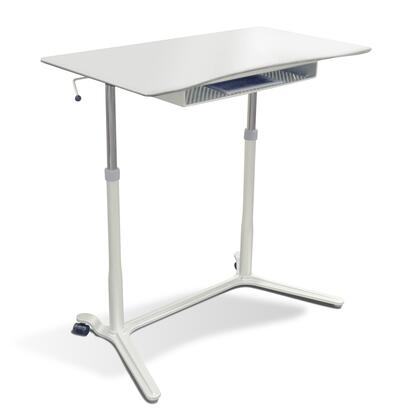 "Unique Furniture 200 Collection 28"" - 41"" Sit Stand Up Desk with Adjustable Height, Storage Shelf, Lacquered Steel Base, Vacuumed Sealed MDF and Ergonomic Curved Top in"