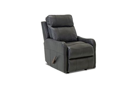 """Klaussner Tacoma Collection LV91803HRRC 28"""" Leather Reclining Rocking Chair with Shaped Arms, Full Chaise Pad Lounge Pad and Tufted Back Cushion in"""