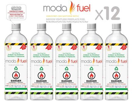 Moda Flame XQTF X One Liter Bottles of Bio-ethanol Indoor Fireplace Fuel
