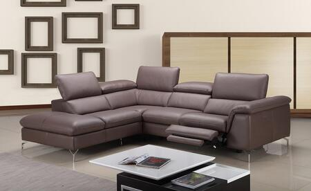 """J and M Furniture Anastasia Collection 18206-XHFC 106"""" 2-Piece Power Reclining Sectional Sofa with X Arm Facing Chaise and X Arm Facing Sofa in Auburn Color"""