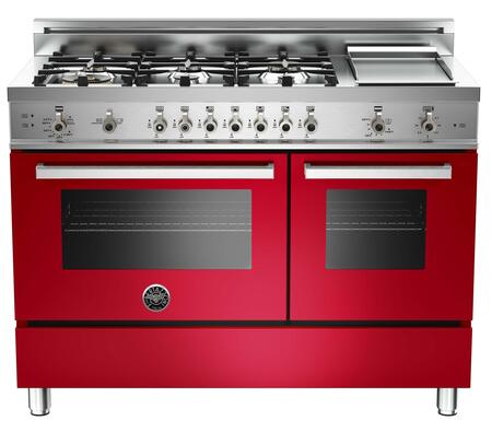 "Bertazzoni PRO486GGASRO 48"" Professional Series Gas Freestanding Range with Sealed Burner Cooktop, 3.6 cu. ft. Primary Oven Capacity, Storage in Red"