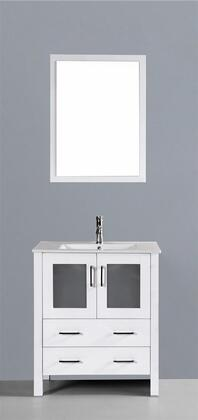 "Bosconi AW130UXX XX"" Single Vanity with Ceramic Counter Top, Undermount Ceramic Basin Sink, Matching Mirror, X Soft Closing Drawers, Cabinet, and Silver Hardware Finish in White Finish"