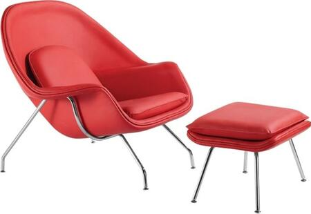 Fine Mod Imports FMI10044RED Woom Series Leather Lounge with Fiberglass Frame in Red with Ottoman Included