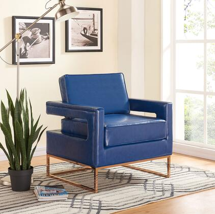 "Meridian Amelia Collection 512X 34"" Accent Chair with Faux Leather Upholstery, Track Arms, Stainless Steel Base and Contemporary Style in"
