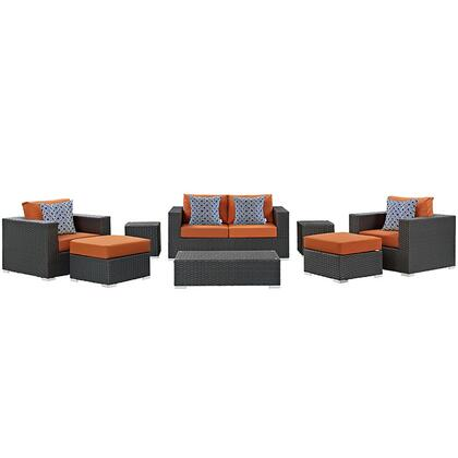 Modway Sojourn Collection EEI-2376-CHC- 8-Piece Outdoor Patio Sunbrella Sectional Set with Coffee Table, Loveseat, 2 Armchairs, 2 Ottomans and 2 Side Tables in