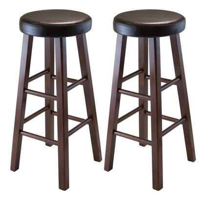 Winsome 940XX Marta Set of 2 Round Stool, PU Leather Cushion Seat, Square Legs, Assembled