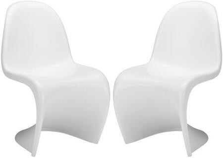 "EdgeMod S Collection 33"" Set of 2 Accent Chairs with Mid-Century Design, Indoor Use and ABS Plastic Construction"