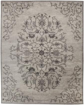 "Signature Design by Ashley Woven R40175 "" x "" Size Rug with Floral Design, Hand-Tufted, 7-8mm Pile Height, Italian Over-Twisted Wool Material and Backed with Recycled Cotton in Grey Color"