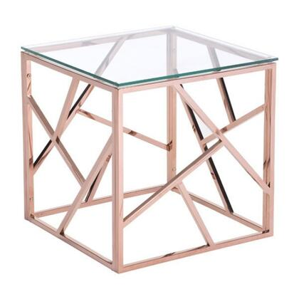 """Zuo 10018A 20"""" Side Table with Slim Angled Strip Designs, and Clear Tempered Glass Top"""