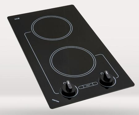 """Kenyon B416 12"""" Caribbean Series Electric Cooktop with 2 Burners (Two 6.5"""" Size), Durable Ceramic Glass, Heat-Limiting Surface and Analog Controls, in Black"""