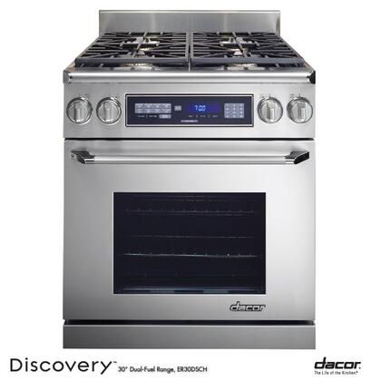 "Dacor Discovery ER30D 30"" Freestanding Dual Fuel Range With High Altitude, 4 Sealed Burners, 3.9 Cu. Ft. Self-Cleaning Convection Oven, Chrome Trim: Stainless Steel"