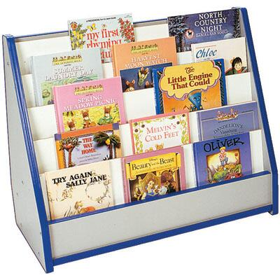 Mahar M50025 5 Slots Toddler Single-Sided Bookstand with Write & Wipe Back in Maple Finish with Edge Color