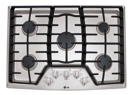 """LG LCG3X11ST XX"""" Sealed Burner Gas Cooktop With 5 Sealed Burners, Superbroil 17, 000 BTU Burner, Heavy Duty Cast Iron Grates, Electronic Ignition, Front Center Knob Controls, In"""