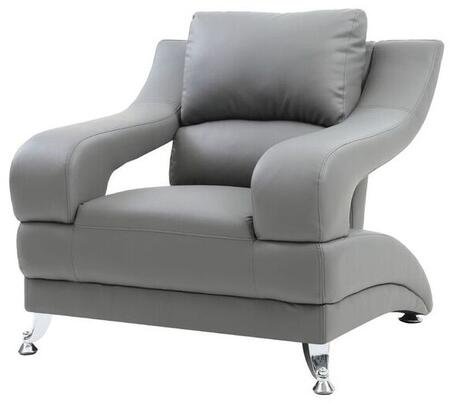Glory Furniture G242C Faux Leather Armchair with Metal Frame in Grey