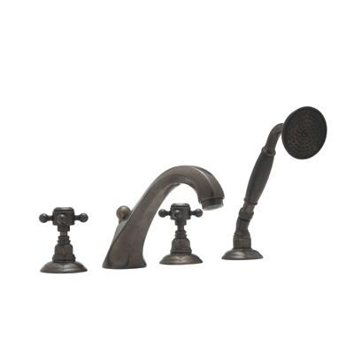 Rohl A1804LH Country Bath Collection 4-Hole Deck Mount Hex Spout Tub Filler with Handshower, Hex Metal Levers:
